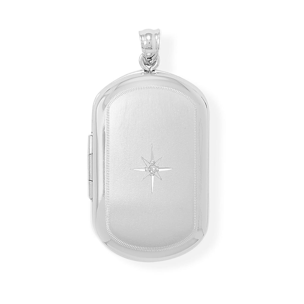 Oblong Memorial Keeper Locket with Diamond Accent