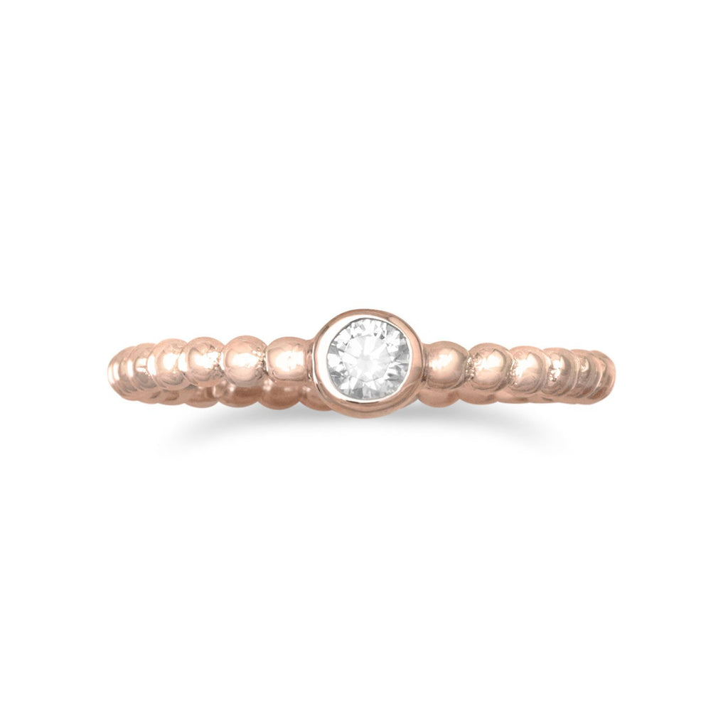14 Karat Rose Gold Plated CZ Ring