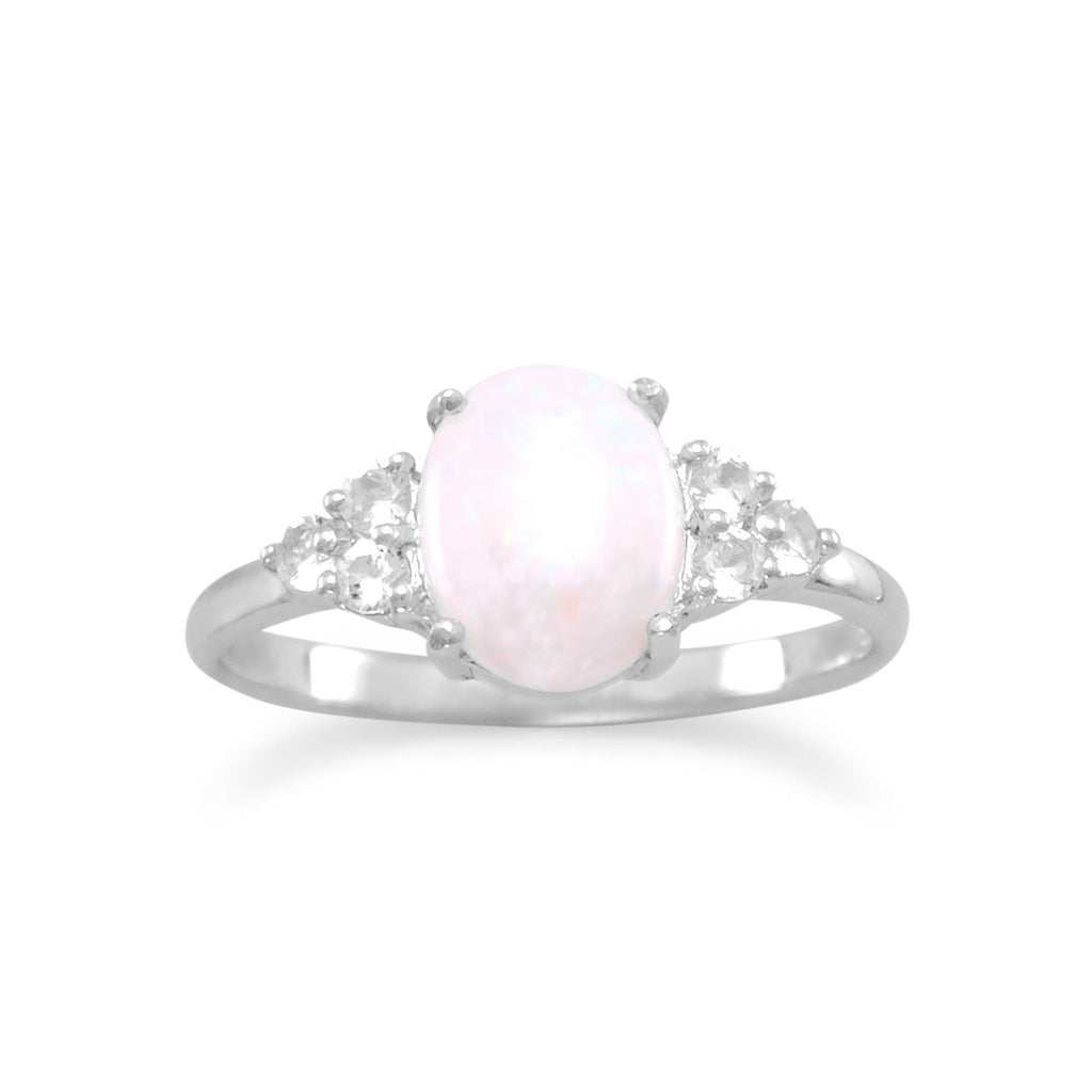 Rhodium Plated Australian Opal and White Topaz Ring