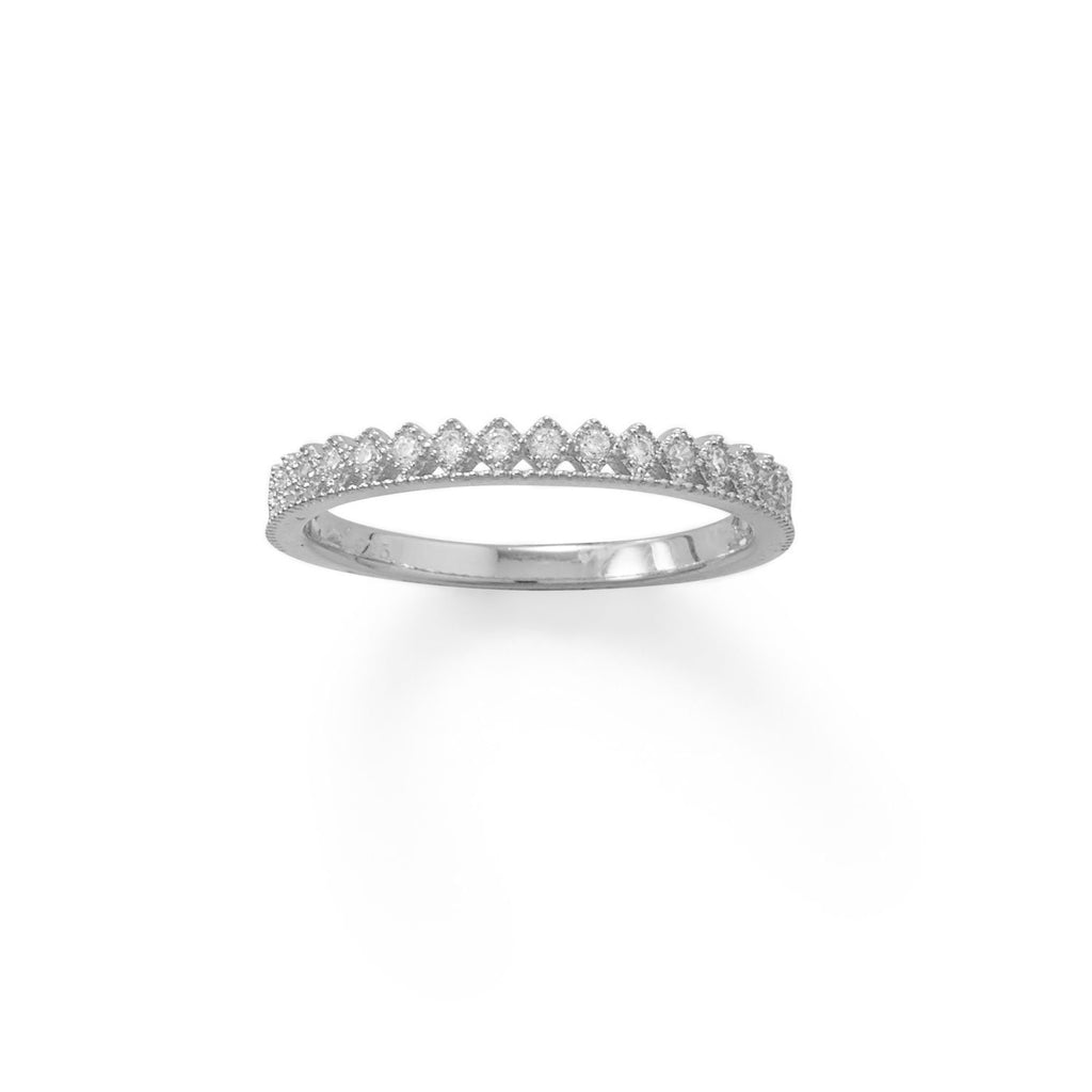Rhodium Plated CZ Thin Crown Design Ring