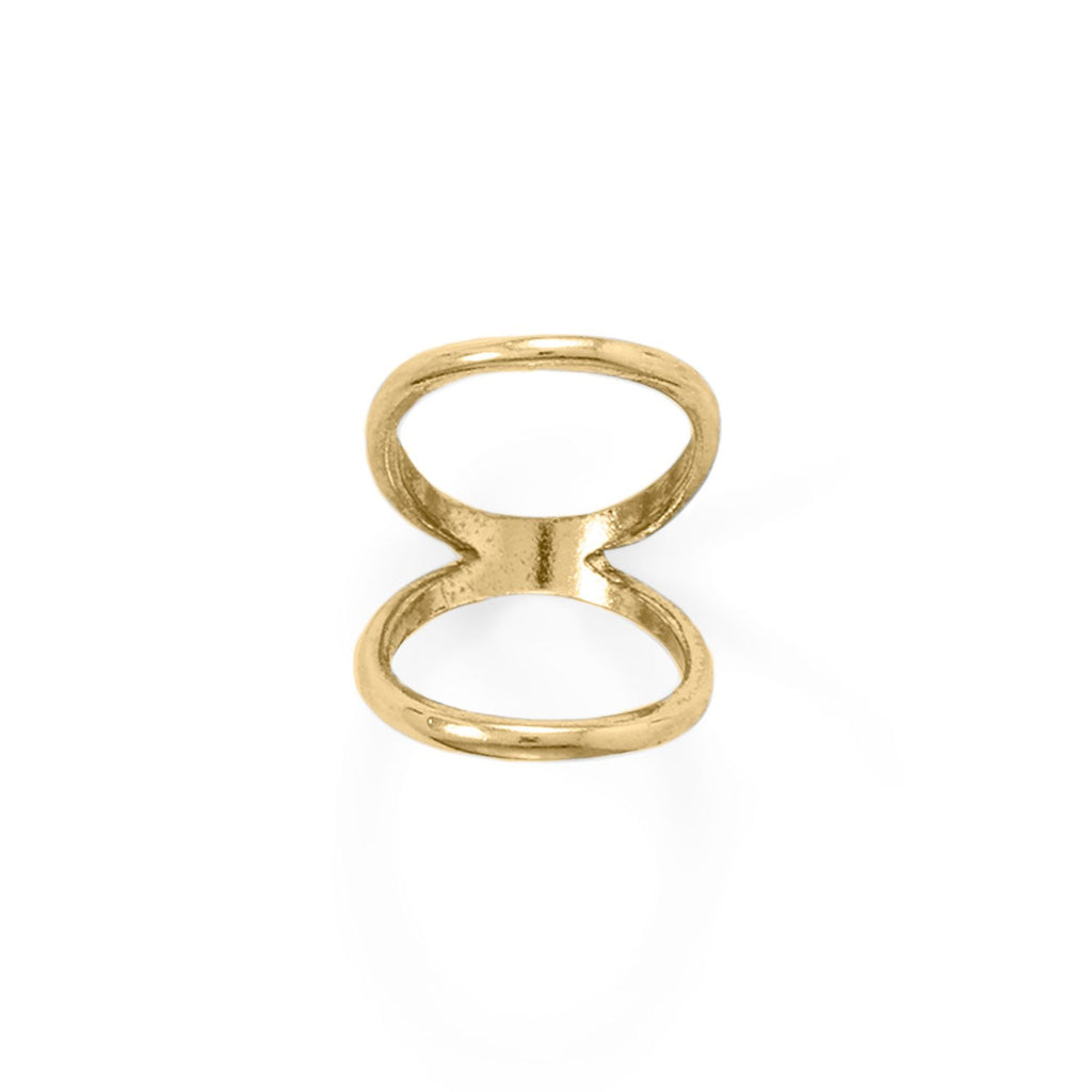 14 Karat Gold Plated Double Band Knuckle Ring