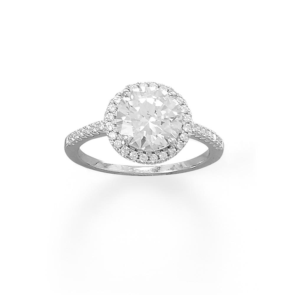 Rhodium Plated Round CZ Ring with CZ Edge