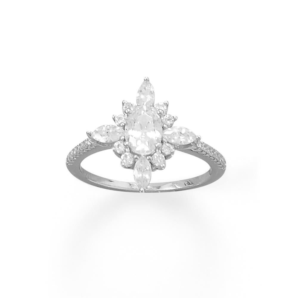 Rhodium Plated Diamond Shaped Multi CZ Ring