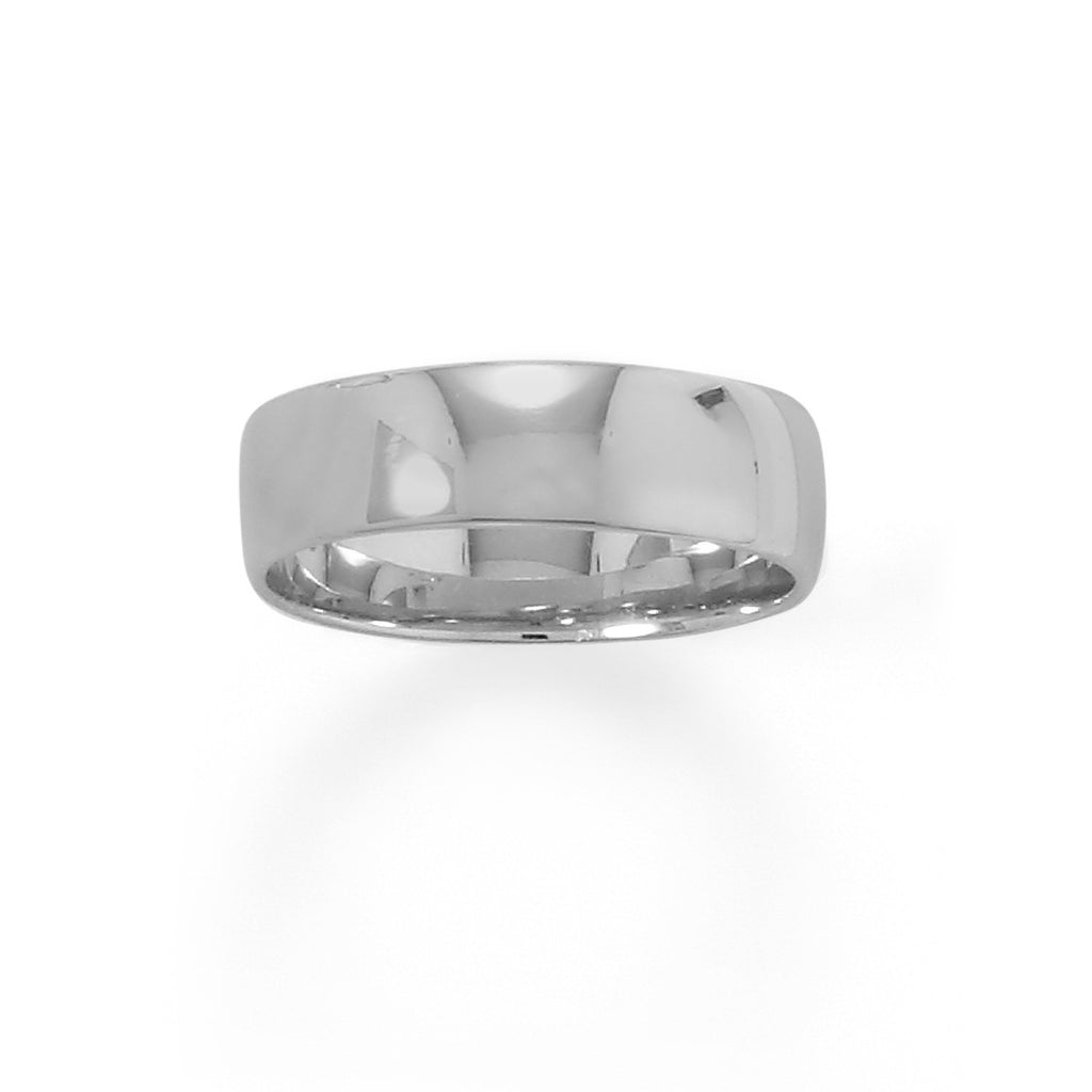 Rhodium Plated 6mm Band
