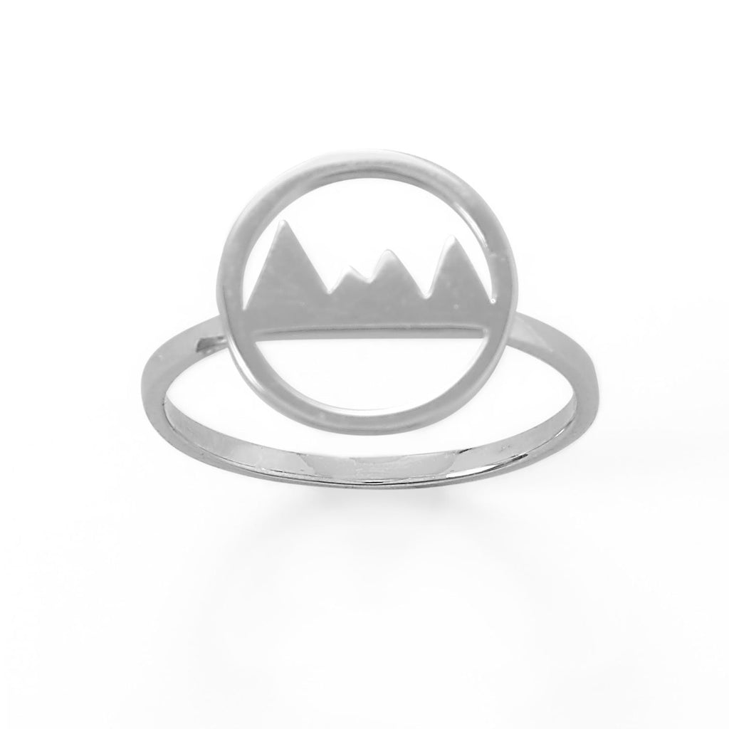 Rhodium Plated Mountain Range Ring