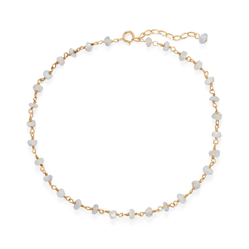 Moonlight Glow! 14 Karat Gold Plated Rainbow Moonstone Anklet