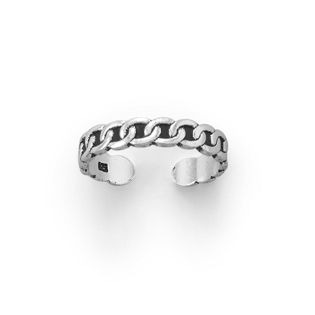 Thin Oxidized Curb Link Design Toe Ring