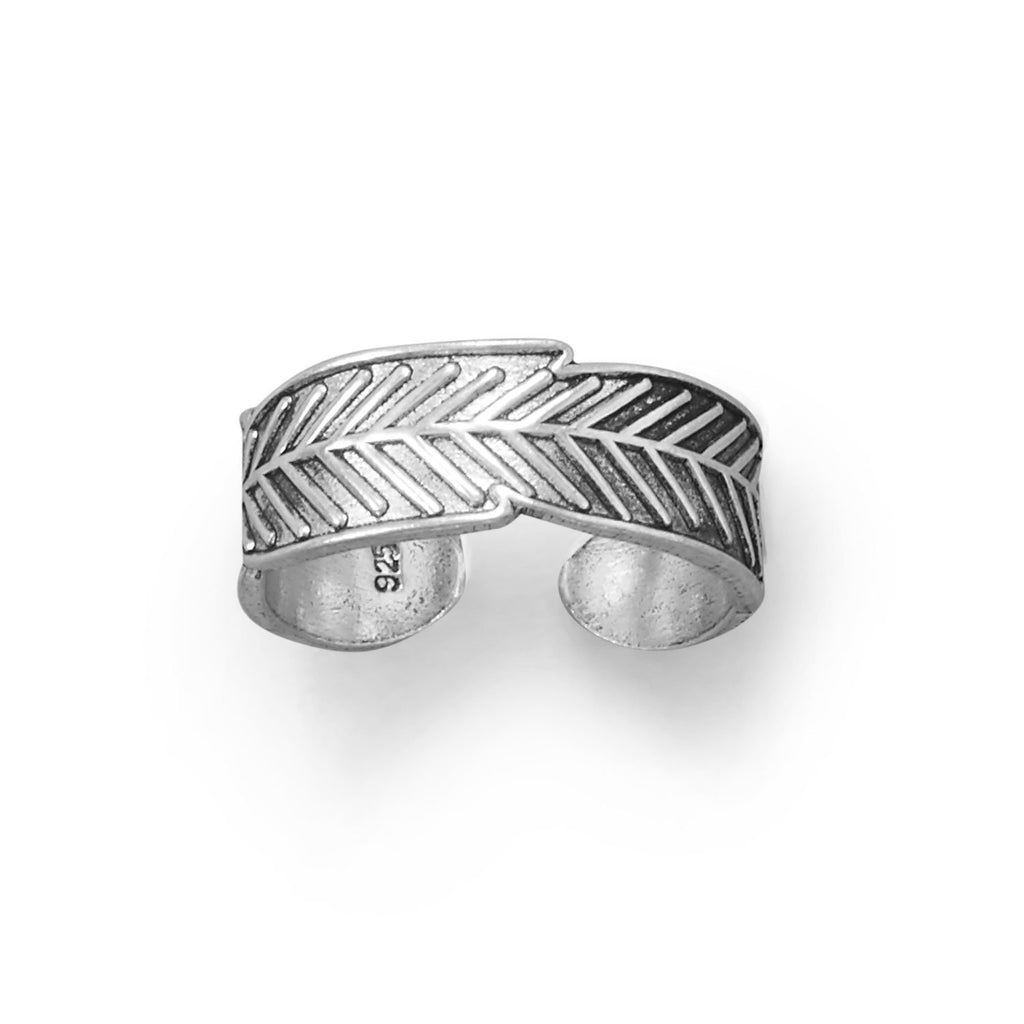 Oxidized Feather Toe Ring