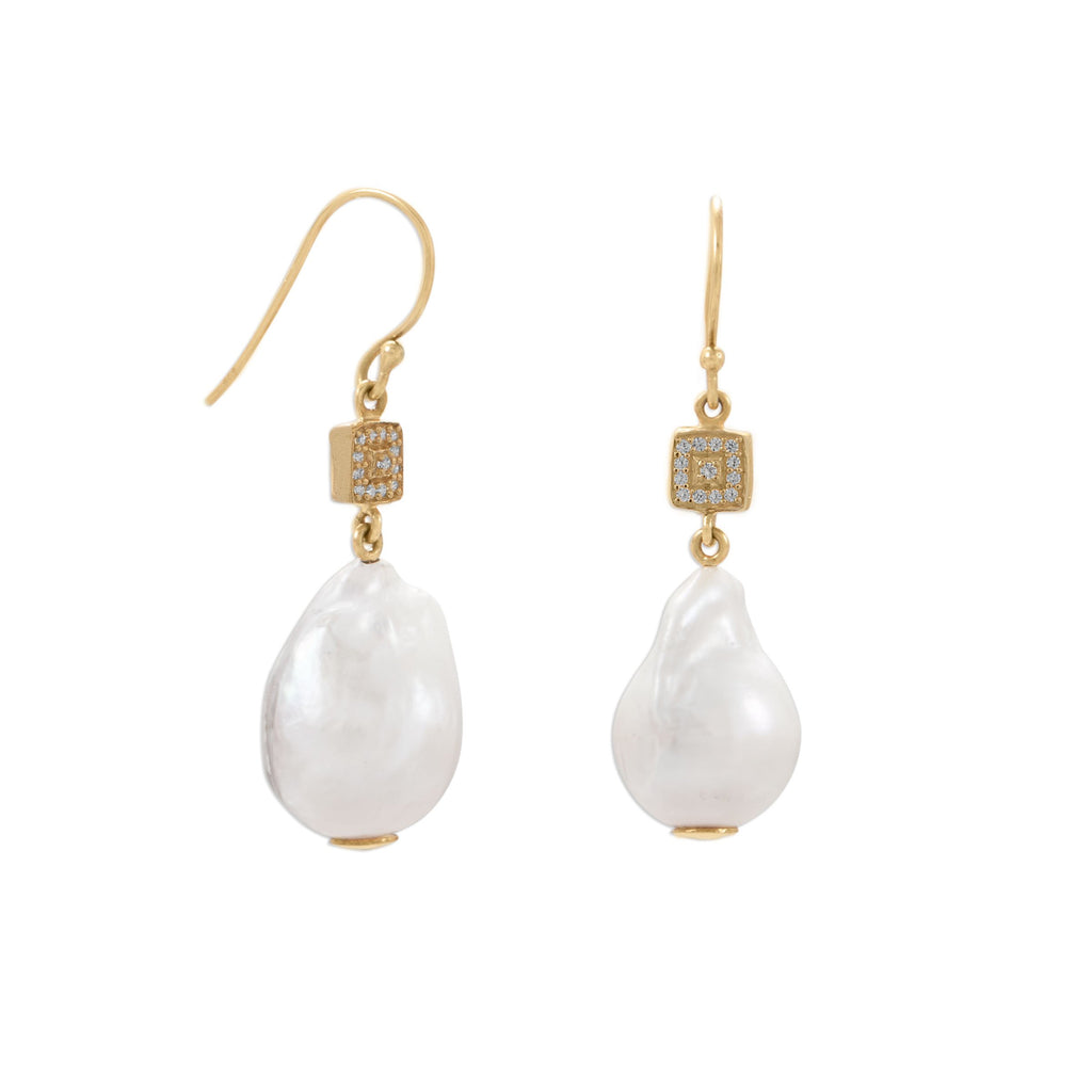 14 Karat Gold Plated CZ and Baroque Pearl Earrings