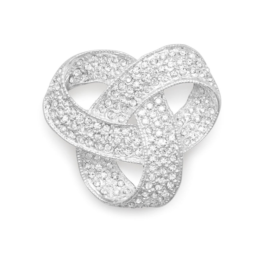 Silver Plated Crystal Love Knot Fashion Pin
