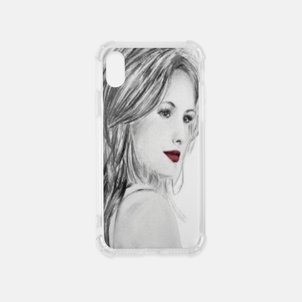 Fashion illustration iPhone Clear Case in Red and Black