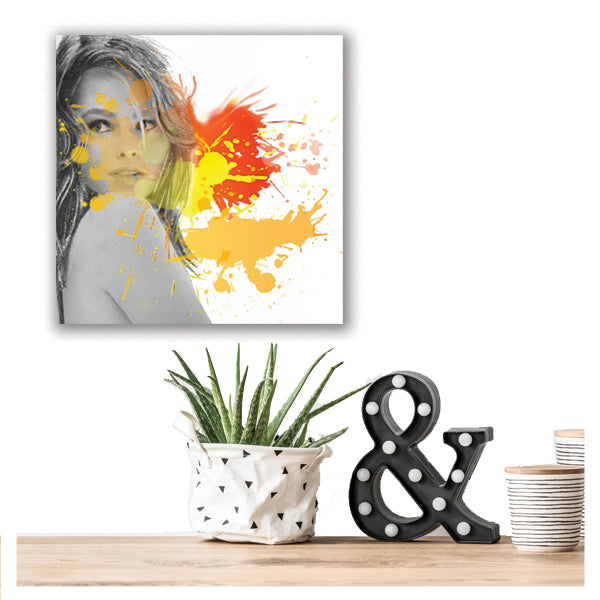 Fashion illustration art print with orange and yellow paint