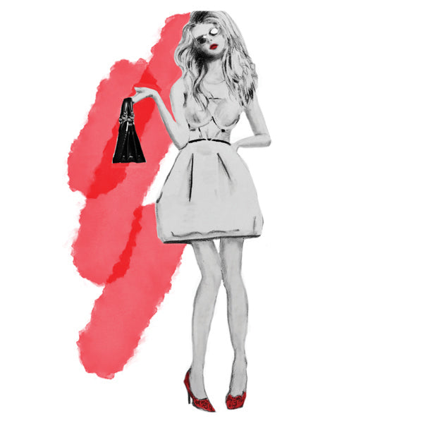 Fashion Illustration art print with red with black bag