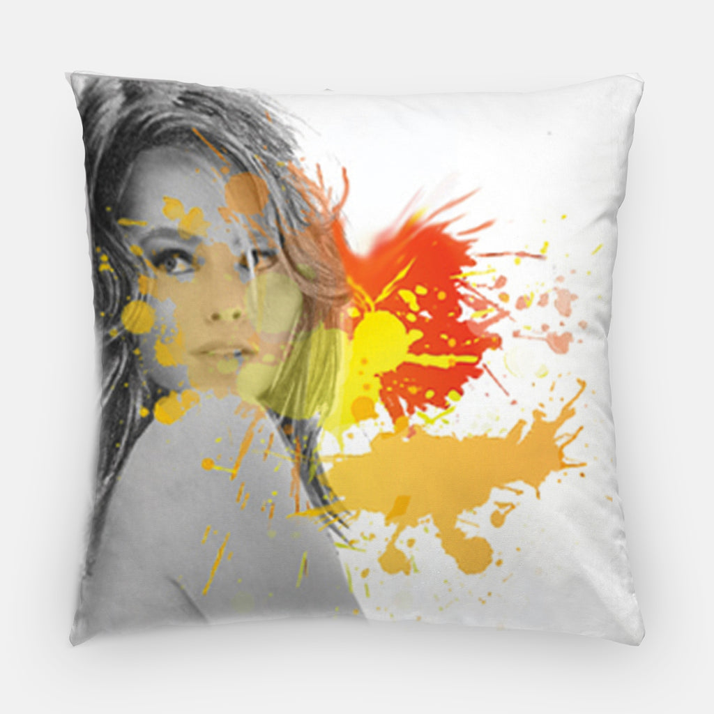 Fashion illustration pillow with orange and yellow paint splatter