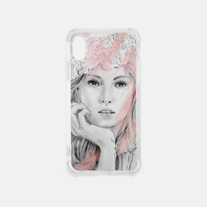 Fashion iIlustration iPhone Clear Case in Pink and White