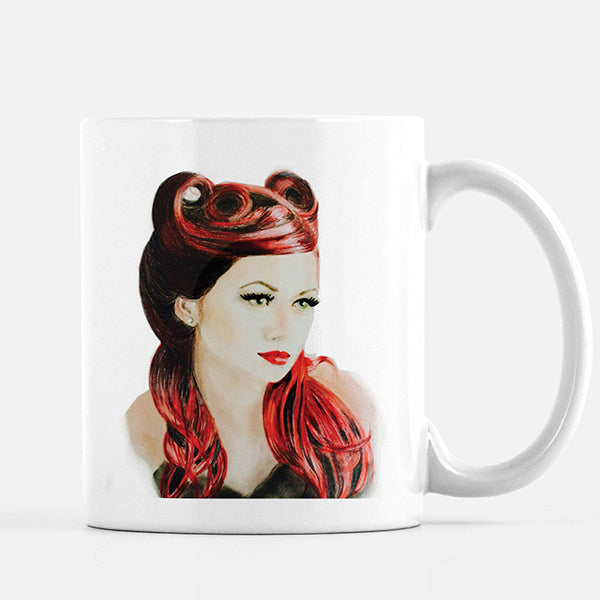 Fashion illustrated coffee mug with red hair