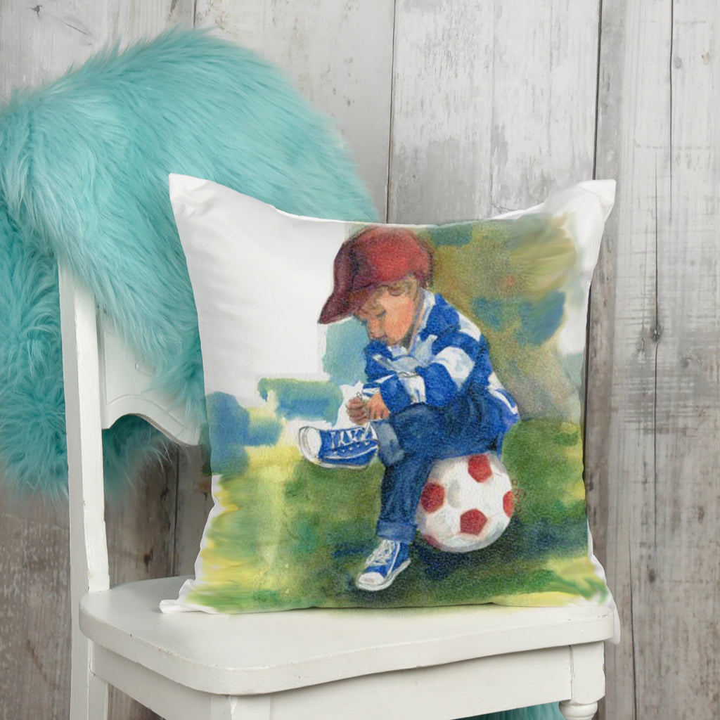 Boy's room soccer pillow with soccer ball