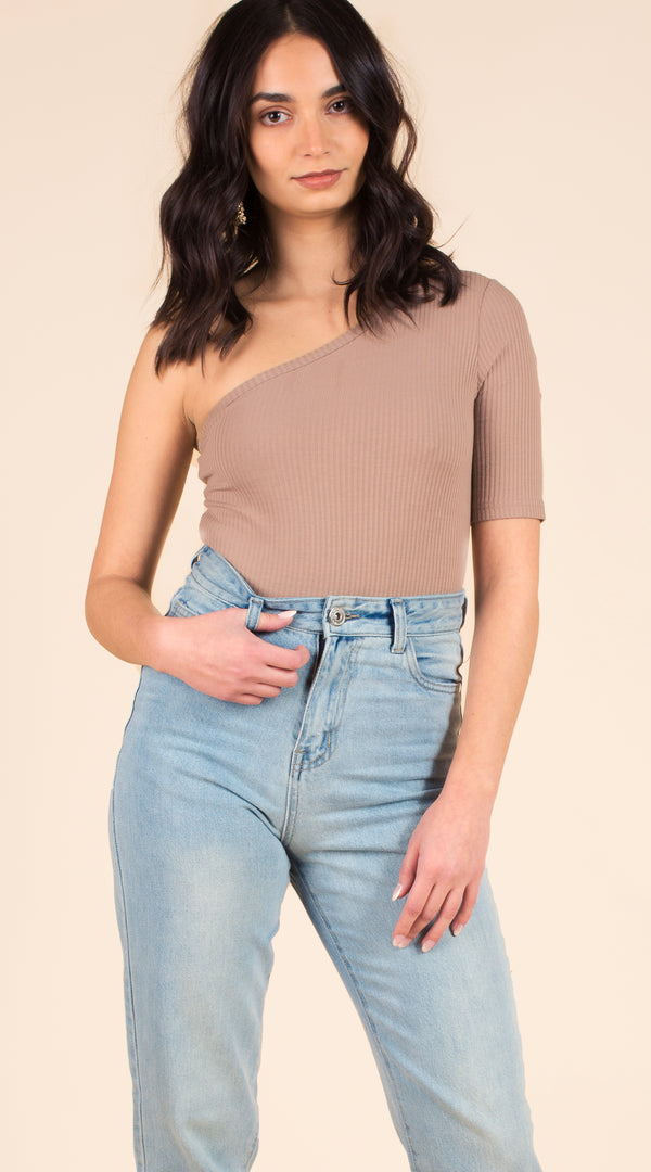 One Shoulder Ribbed Bodysuit