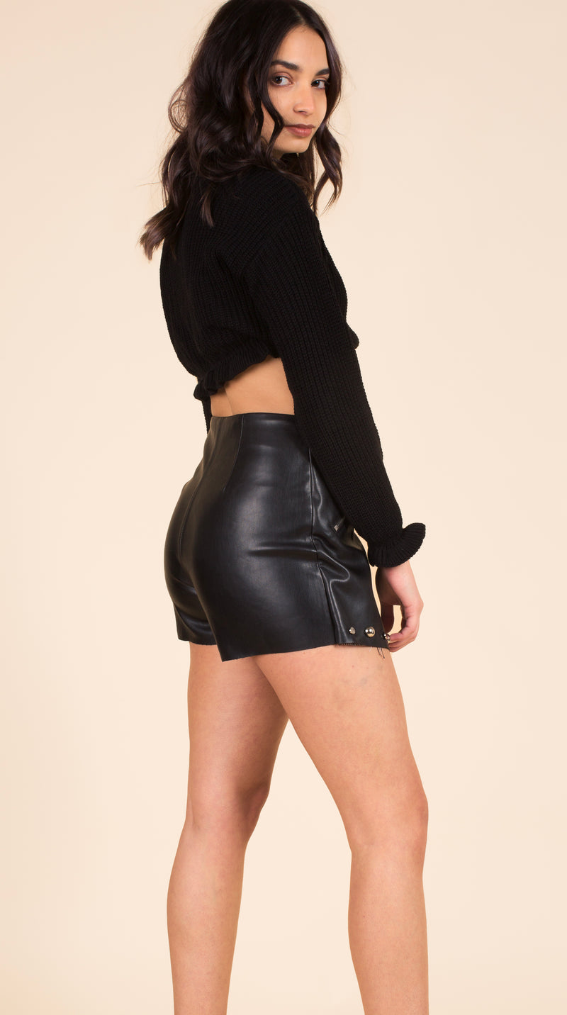 Studded Faux Leather Skorts