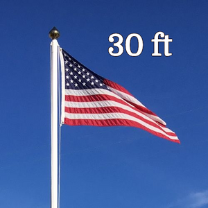 30ft Commercial Fiberglass Flagpole External Halyard Freedom Flagpole