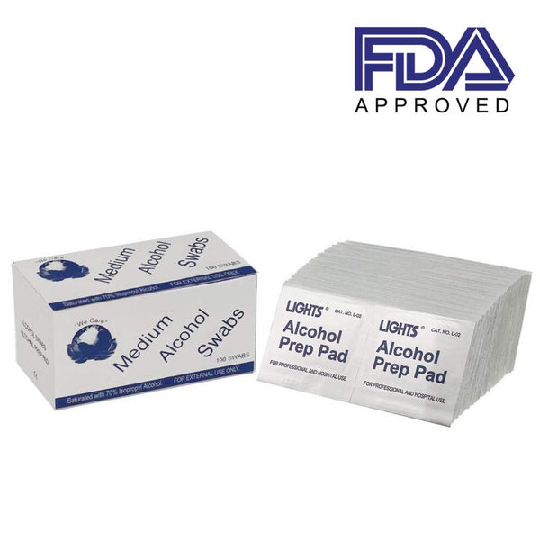 Disposable Isopropyl Alcohol Prep Pads, 100 pcs/Box, FDA approved