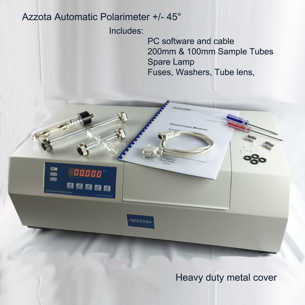 Automatic Polarimeter +/-45' include pc software and cable, 200mm&100mm sample tubes, spare lamp, and fuses, washes, tube lens