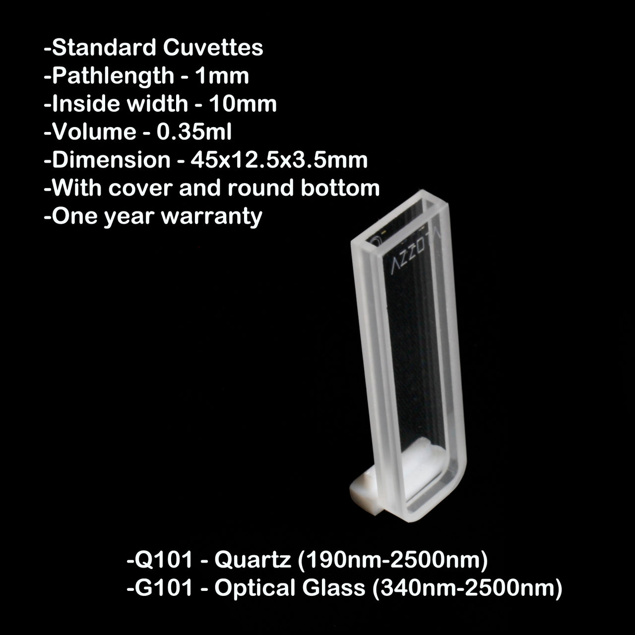 1mm Pathlength Standard Cuvette - 0.35ml