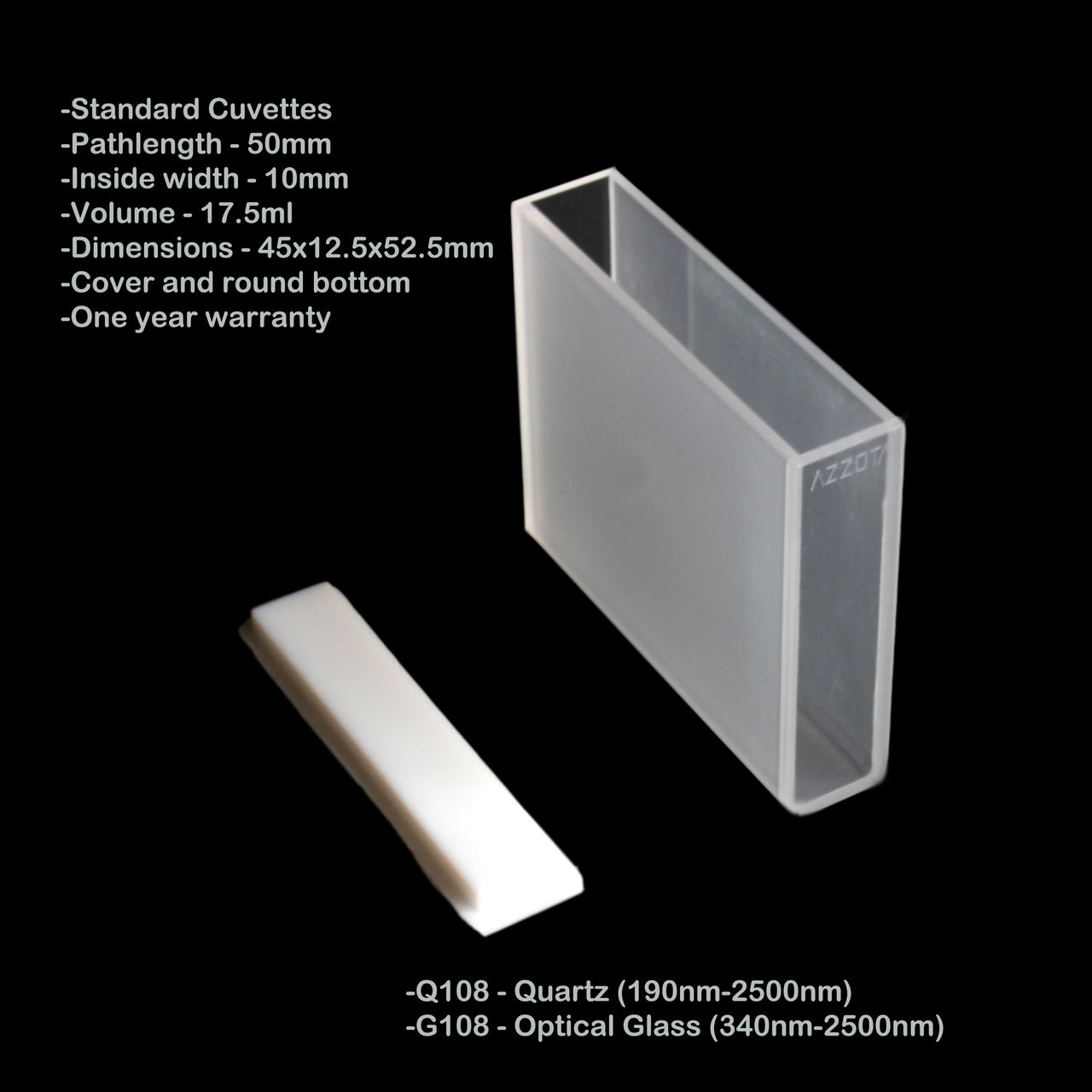 50mm Pathlength Standard Cuvette - 17 5ml