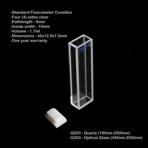5mm Pathlength Standard Fluorometer Cuvette - 1.7ml