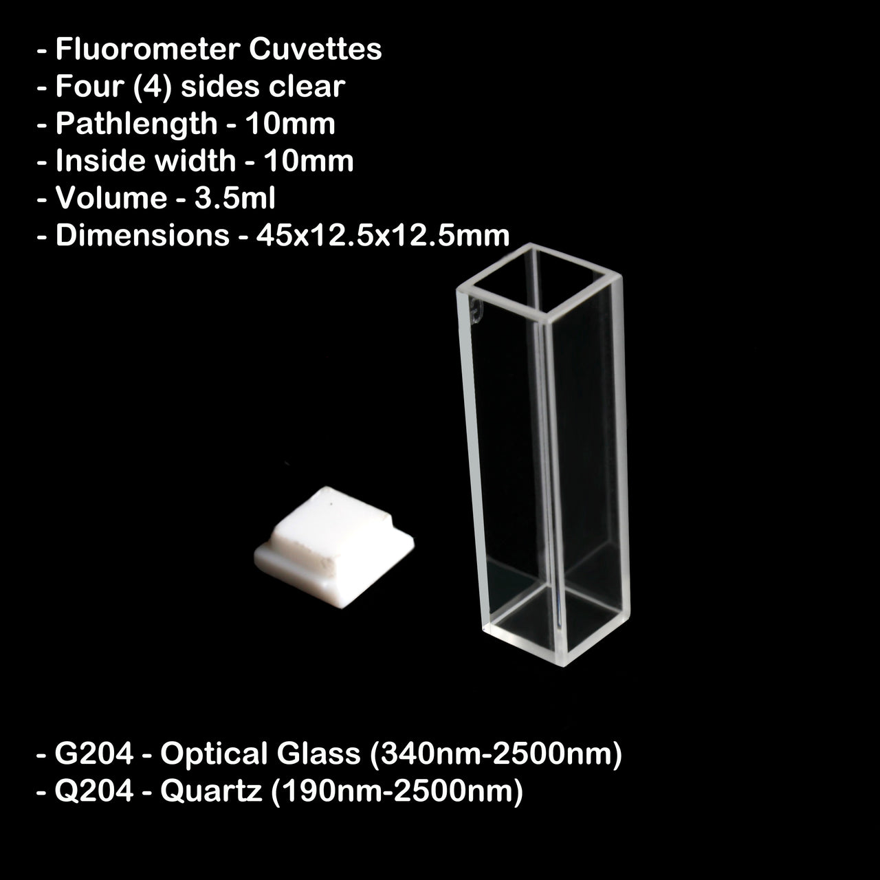 10mm Pathlength Standard Fluorometer Cuvette - 3.5ml Quartz
