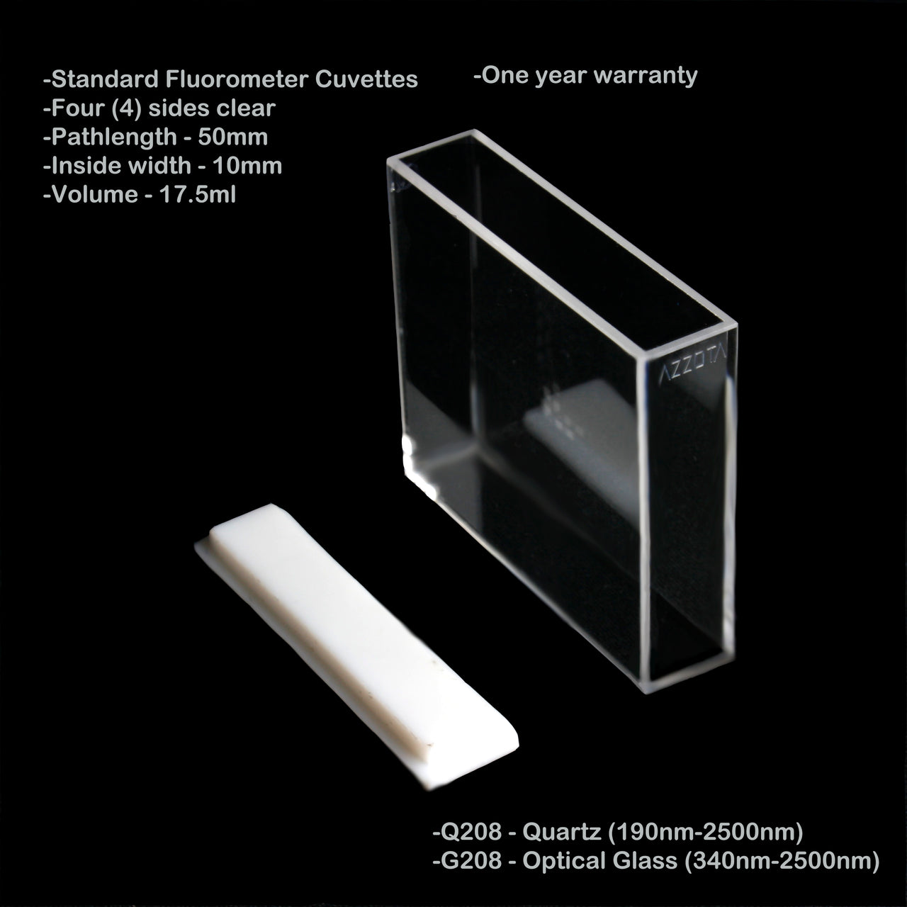Azzota® Standard Fluorometer Cuvette, 17.5ml, 50mm Pathlength