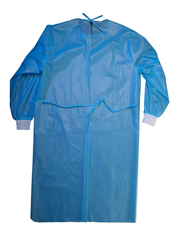 DISPOSABLE Level 2 Isolation Gowns, Coat type, Blue, 100/PK