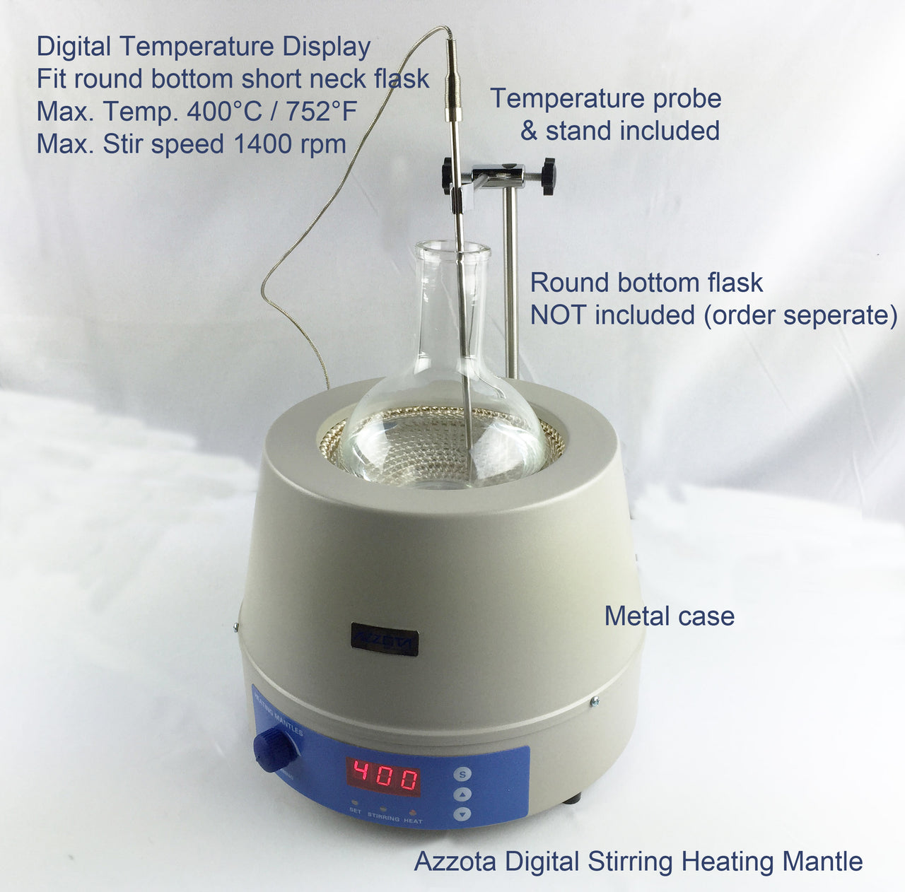 Azzota® Digital Stirring Heating Mantle, 500ml