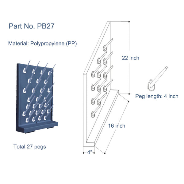 Bench-top/Wall-Mount Laboratory Glassware Pegboard Drying Rack, 27 Rack, Polypropylene, 22 inch height, 4 inch width, 16 inch length