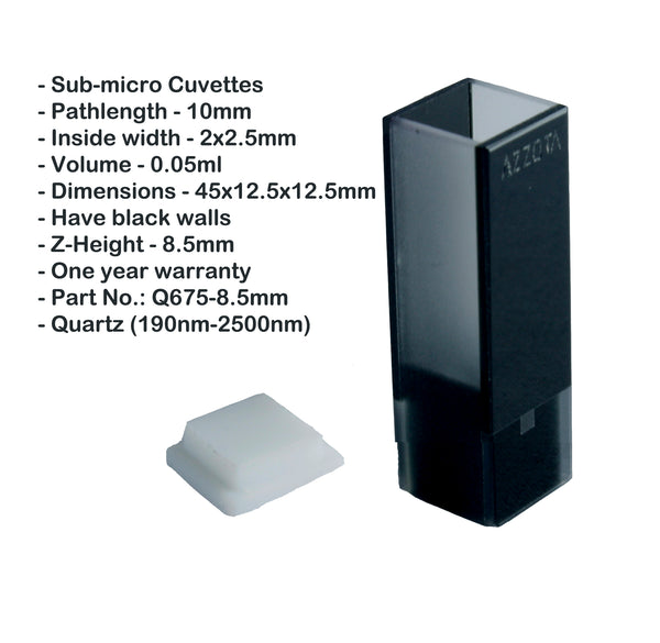 10mm Pathlength (0.05ml) Sub-micro Cuvette