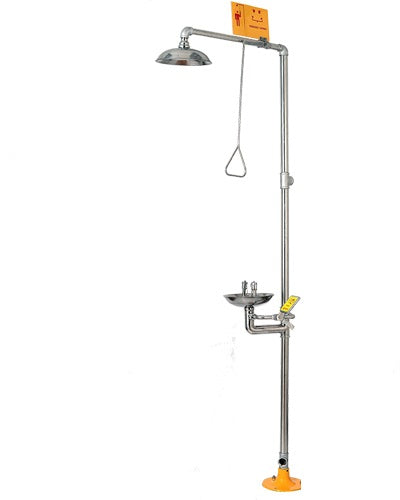 Azzota® EMERGENCY SHOWER / EYEWASH STATION, Standard, (Stainless Steel)