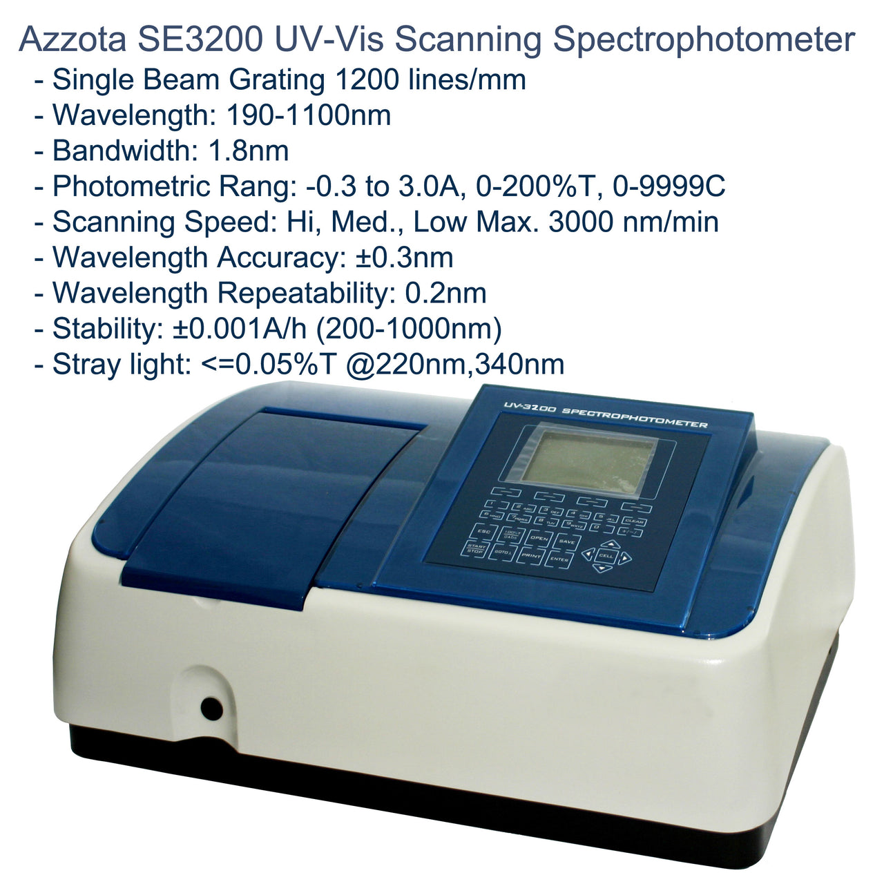 Azzota® Single Beam Scanning Stand-Alone UV-VIS Spectrophotometer, SE3200