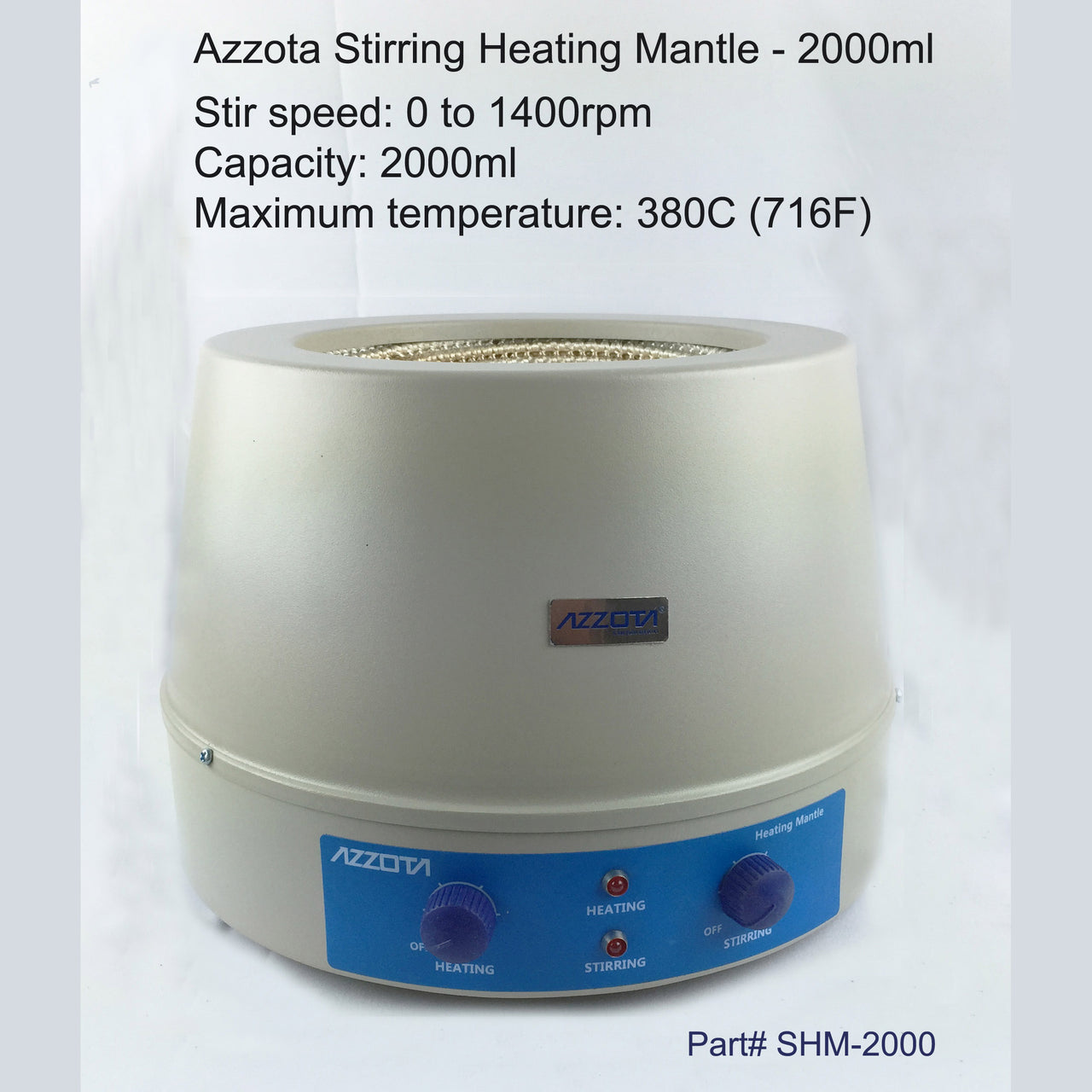 Azzota Certified Refurbished Stirring Heating Mantle, 2000ml