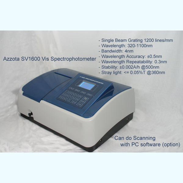 Azzota® Advance Visible Spectrophotometer w/ Software, SV1600PC