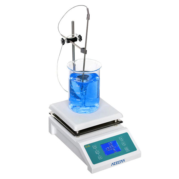 Azzota® Digital Ceramic Magnetic Stirrer with Hotplate w/ LCD Display, 5000ml, 2000rpm