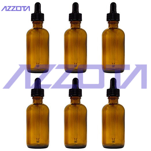 Azzota Amber Glass Bottles with Glass Eye Dropper, 50ml/2oz