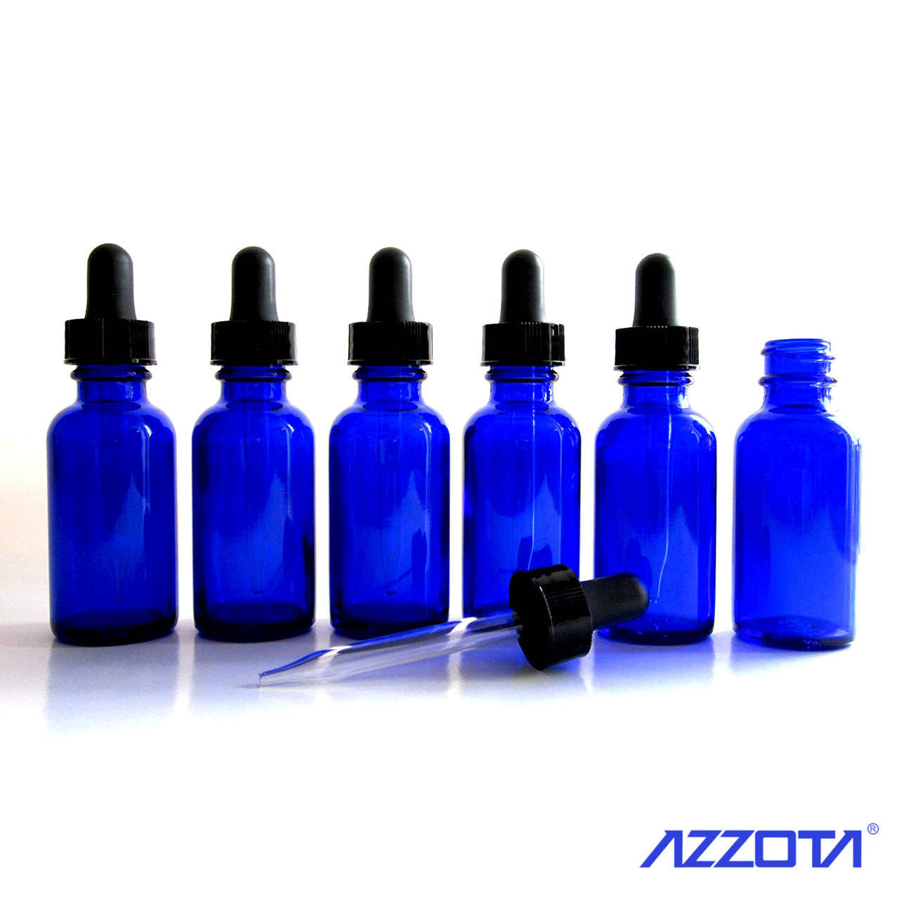 Blue Glass Bottles with Glass Eye Dropper, 15ml / 1/2oz for oils or other liquids requiring a dropper