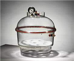 "Round Vacuum Desiccator with vacuum gauge, Dia 10"", 10L quick and convenient checking of the vacuum level"