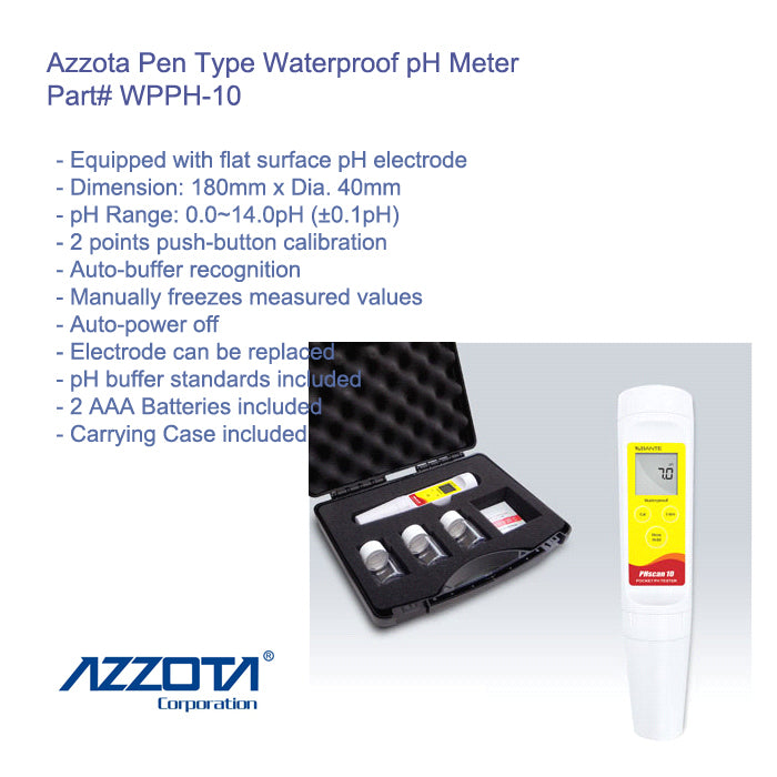Azzota Pen Type Waterproof pH Meter Part#WPPH-10