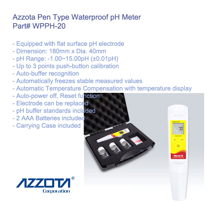 Azzta Pen Type Waterproof pH Meter with 180mm*Dia.40mm Dimension
