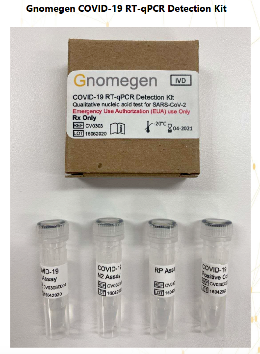 Gnomegen COVID-19-RT-qPCR Detection Kit, FDA, EUA CV0303. 500 reaction