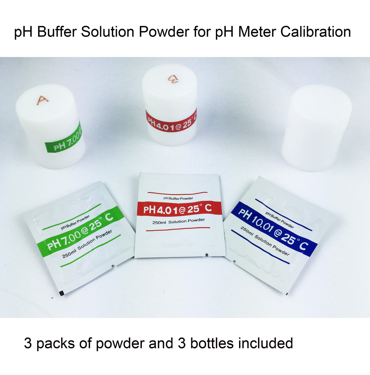 pH Buffer Solution Powder with bottles for Azzota pH Meters