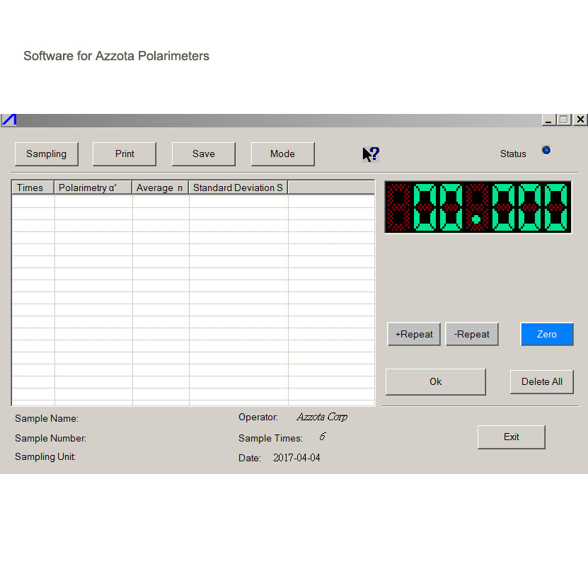 Software for Azzota Automatic Polarimeter - labshops.com