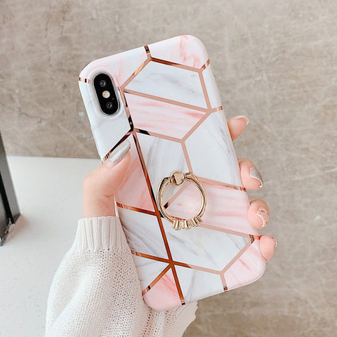 Geometric Marble Phone Case With Finger Ring Holder - Sugarcola