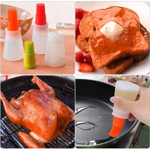 Portable Silicone Oil Bottle With Baking BBQ Basting Brush